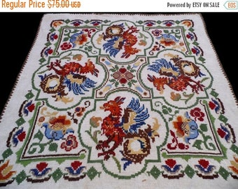 25% SUMMER SALE Vintage square linen tablecloth with DRAGONS / Griffins and floral embroidery embroidered dragon table cloth Crocheted edgin