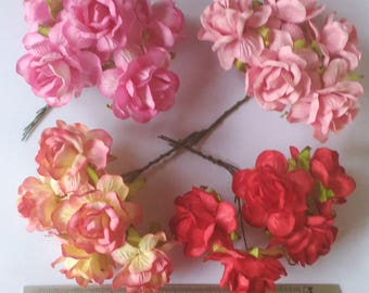 20 Jumbo  Mixed Colors  Mulberry Roses Paper  Flowers  Jumbo Size  1.8 inch Bulk Price  Embellishment Scrapbooking