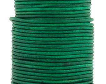 Xsotica® Sea Green Natural Dye  Round Leather Cord 1mm 25 meters (27.34 yards)