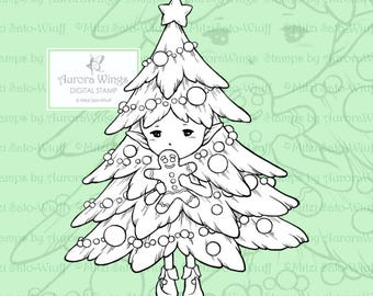 PNG Digital Stamp - Christmas Tree Sprite Gingerbread Man - Holiday Whimsical Fantasy Line Art for Cards & Crafts by Mitzi Sato-Wiuff