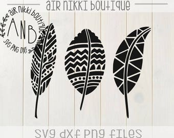 3 Feathers SVG, DXF, PNG files, instant download