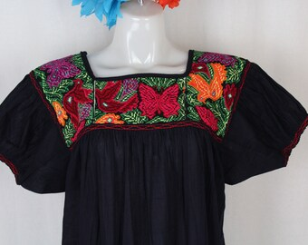 Cross stitch Frida Style Colorful Mexican Dress with Embroidered Flowers- MEDIUM- 100% Cotton Gauze- Summer-BOHO-Hippie- Black