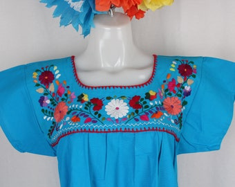 Frida Style Mexican Hand Embroidered Peasant Blouse 100% Cotton/Manta - Turquoise- Puebla-BOHO-Hippie-Summer- Frida Kahlo- Festival