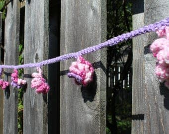 Bunting / Garland / Crocheted Flowers in Pink and Purple