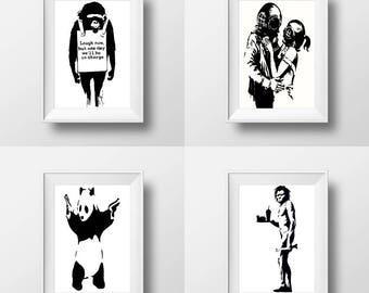 Banksy print instant download, Banksy printable postcard size