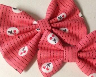 Cherry Bow   Vintage Cherry Bow   Fabric Bow   Handmade Hair Bow   Hair Clip   Headband