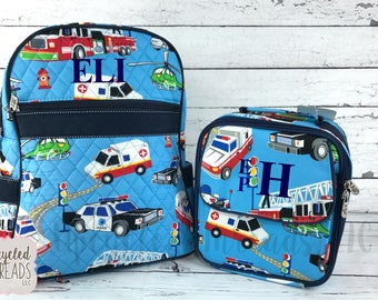 Boys Backpack Set, Backpack and Lunchbox Set, Backpack, Monogram Backpack, Back To School, Birthday Gift, School Bag, Pre K Backpack