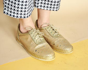 90s GOLDEN sneakers KITSCH sneakers GOLD sneakers espadrille shoes studded sneakers rave sneakers glitter sneakers / Size 7.5 us 5 uk 38 eu