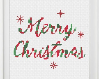 Merry Christmas, Words, Cross Stitch Pattern, PDF, instant download
