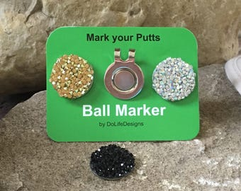 Glitzy Golf Ball Markers and Visor Clip - 3 Bling Markers - Functional Jewelry for the Lady Golfer - Mark Your Putts - Black • Gold • Clear