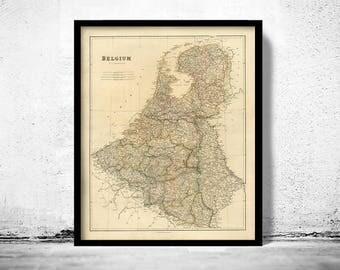 Vintage Map of Belgium Antique map 1832