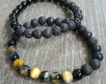 Men's lava rock bracelets with Tigers eye and onyx