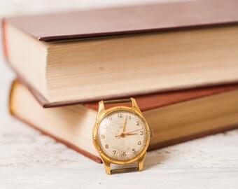 Men jewelry gift for him Mechanical watch working gold plated wrist vintage Soviet watch Russian Slava boyfriend watch
