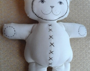 handmade cloth rag art baby doll teddy bear