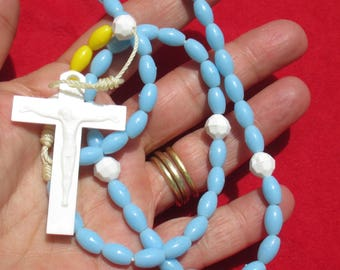 Retro Blue White & Yellow Beaded Plastic Rosary