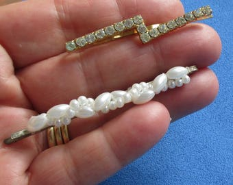 Retro Rhinestone & White Faux Pearl Hair Pins