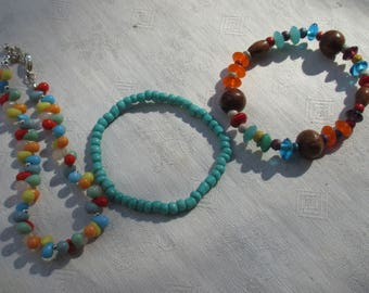 Lot Of Colorful  Beaded Stretch Bracelets Restring Repurpose  Plus Beaded Anklet