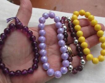 Lot Of Retro Purple & Yellow Beaded Stretch Bracelets Restring Repurpose