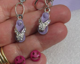 Retro Sandal Purple Clear Rhinestone Dangling Pierced Earrings Plus Mauve Smiley Face Earrings