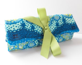 Blue Green Turquoise  Jewelry Roll  Bridesmaid Gift Travel Accessories