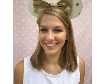 Gold Polkadot Inspired Minnie Mouse Ears Headband