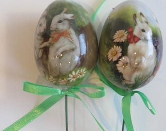 2  Easter Bunny Floral Picks, Bunny Rabbits, Floral Arrangement Supply, Wreath Supply, Crafting Supply, C1, Bin A