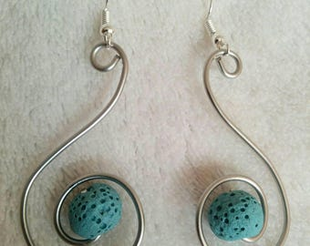 Essential Oil Diffuser Earrings Lava Beads Stainless Steel Wire Funky Swirls