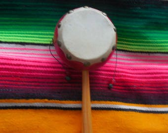 vintage Mexican drum, Mexican spinning drum. wood drum, Mexican toy, Monkey drum