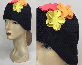 Vintage SWIM Cap / 1950s 1960s Black Floral Swimming Bathing Cap