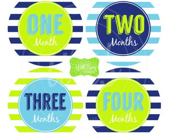 Baby Boy Monthly Stickers - Striped Baby Month Stickers - Baby Boy Growth Stickers - Boy Milestone Stickers - 053