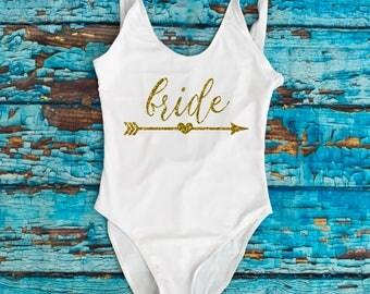 Bride Bathing Suits. Honeymoon Swimwear. Bridal One Piece Swimsuit. Bride Wedding Gift. Bride tribe. of Honor. Bachelorette Swim.