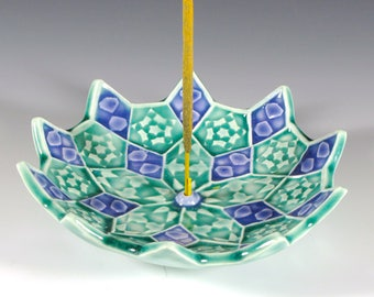 Lotus Blossom Incense Burner - Emerald and Amethyst - Ceramic Incense Holder - Mandala Incense Holder -