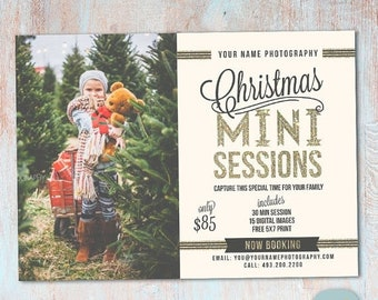 ON SALE Christmas Mini Session Template - Christmas Photography Marketing - Photoshop template - IC023 - Instant Download