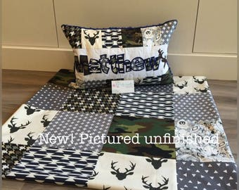 New! Art gallery Deer woodland animal baby quilt and pillow set, grey and navy.