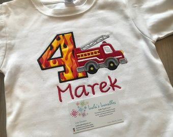 Vehicle (car, truck, police car, fire truck) birthday shirt, choose your colours