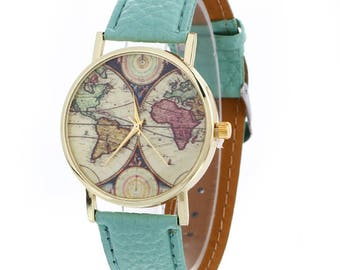 Mens watch etsy uk world map watch casual vintage wristwatch leather strap unisex watch classic elegant gumiabroncs Gallery