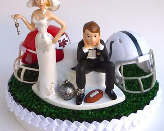 Wedding Cake Topper Team Rivalry House Divided Football Turf Topper Ball and Chain Key Themed College Pro You Pick Your Two Teams w/ Garter