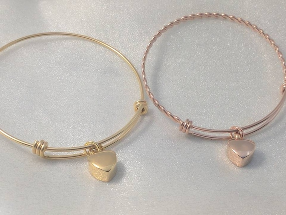Urn Bracelet - Gold Heart Urn - Rose Gold Heart Urn - Your Choice of One - Sympathy Gift - Urn for Ashes - Ash Bracelet - Cremation Jewelry