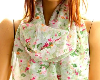 green floral scarf - floral shawl - spring scarf - summer scarf - floral scarf - green scarves - floral scarf - woman scarf - gift ideas