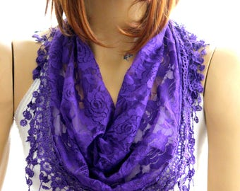 purple lace scarf  Summer lace scarf  Lace scarf Woman scarf scarves  floral scarf purple headband purple scarves  lace scarf floral scarves