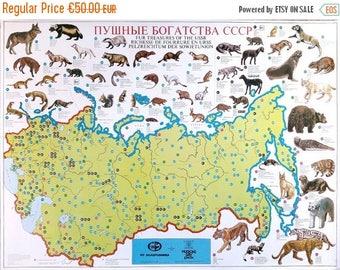 ON SALE Vintage Soviet Map, Fur Treasures of the USSR, Multilingual Educational Map, Original Wall Decor, Kids Room