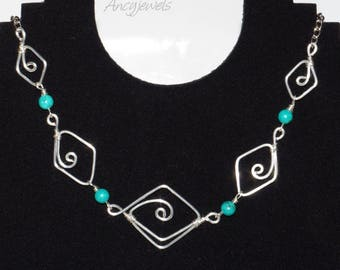Short necklace/diamond and turquoise/silver plated necklace