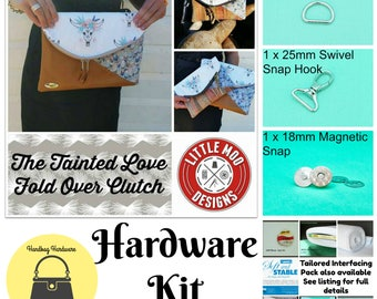 The Tainted Love Fold Over Clutch - Little Moo Designs -  Hardware Kit