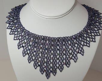 Bib statement necklace in shades of blue