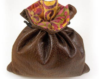 Brown Faux Leather /Gold Orange Green Purple Swirls Batik Lined Dice Bag / Drawstring Pouch