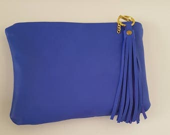 Genuine Blue Leather makeup case cosmetic storage,pouch,pouhces