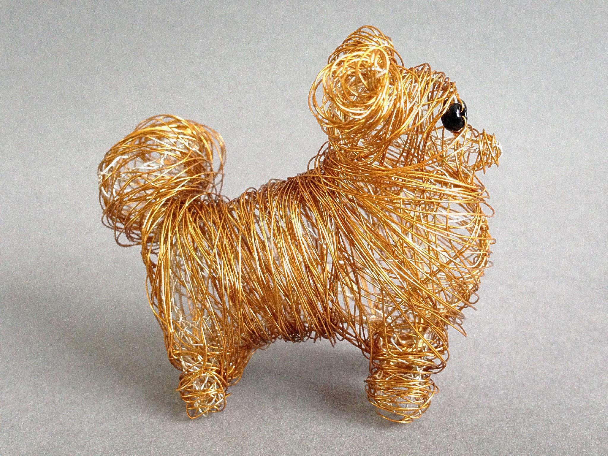 Wire Dog Pomeranian Statue Custom Dog Ornament 3D Metal Dog