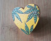 Marijuanna Weed Jewelry Wood Pyrography Button Brooch Pin