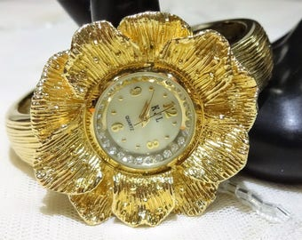 Vintage KJL Kenneth Jay Lane Dogwood Hinged Flexible Bangle/Cuff Watch