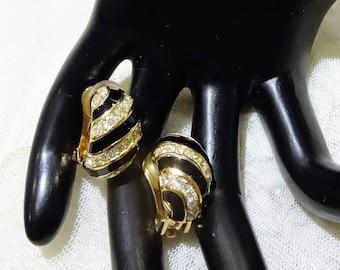Vintage Christian Dior Black Enamel and Pave Rhinestone Half Hoop  Earrings